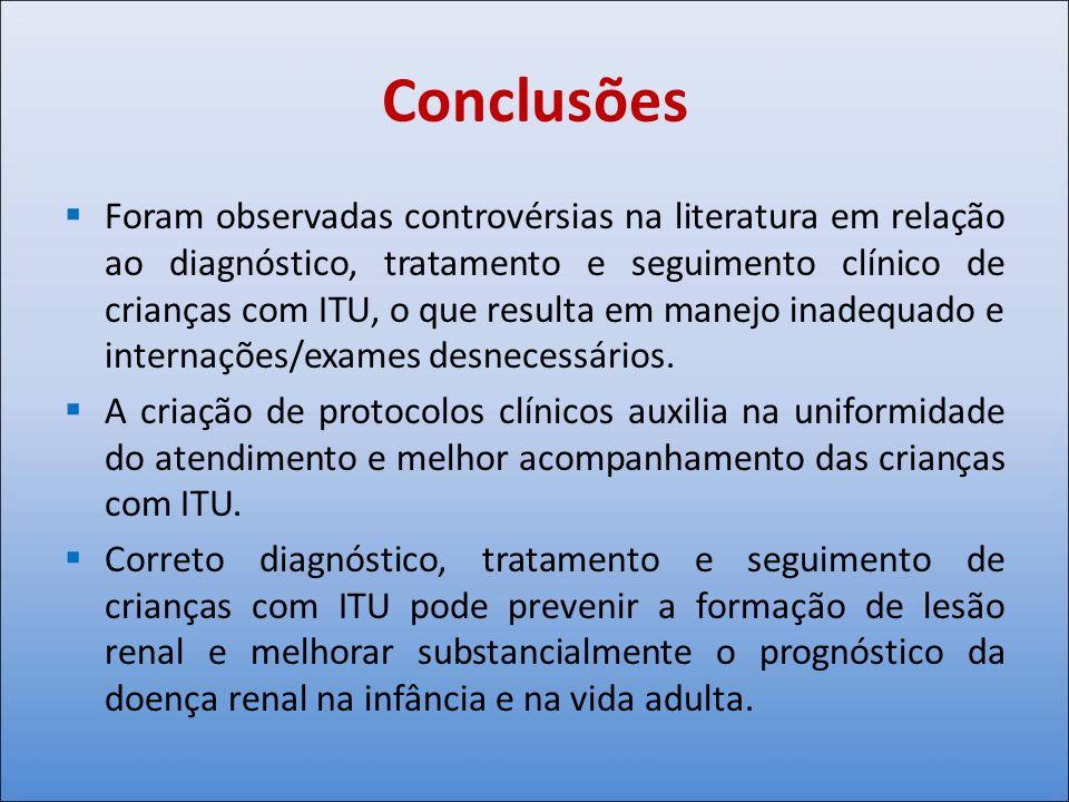 Conclusões Foram observadas controvérsias na literatura em relação ao diagnóstico, tratamento e seguimento clínico de crianças com ITU, o que resulta