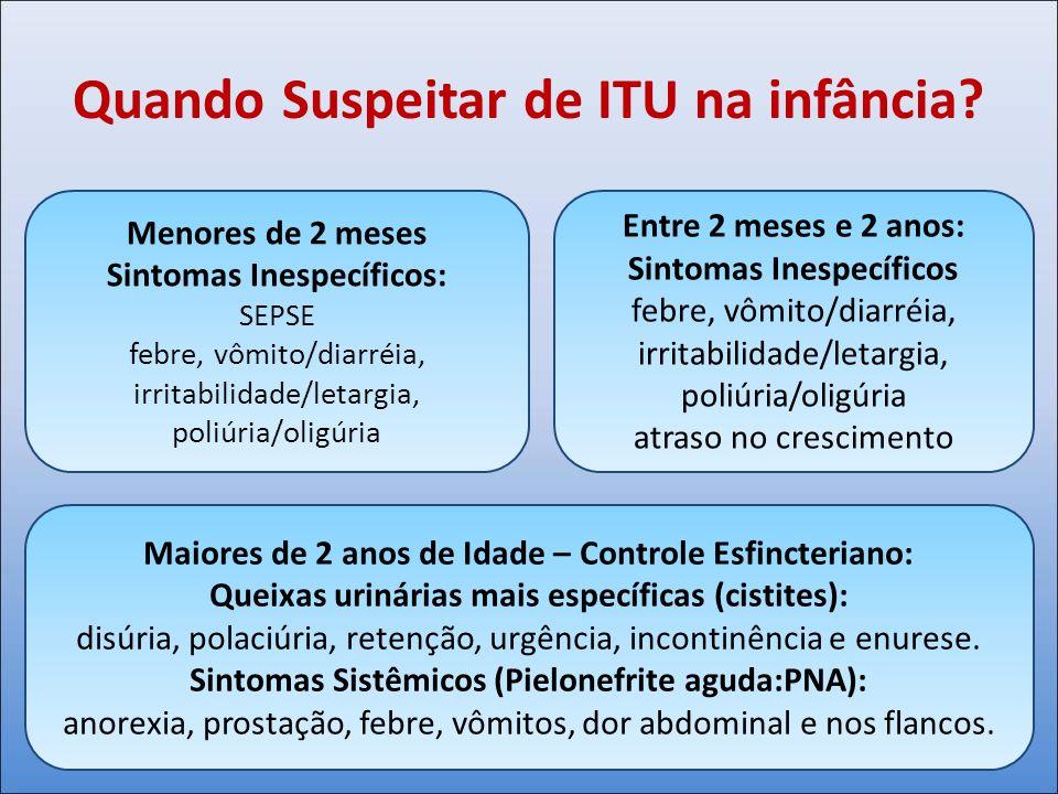 Quando Suspeitar de ITU na infância? Menores de 2 meses Sintomas Inespecíficos: SEPSE febre, vômito/diarréia, irritabilidade/letargia, poliúria/oligúr