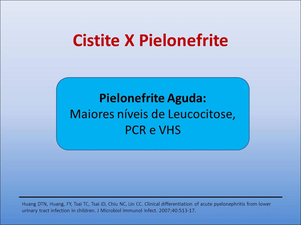Cistite X Pielonefrite Huang DTN, Huang, FY, Tsai TC, Tsai JD, Chiu NC, Lin CC. Clinical differentiation of acute pyelonephritis from lower urinary tr