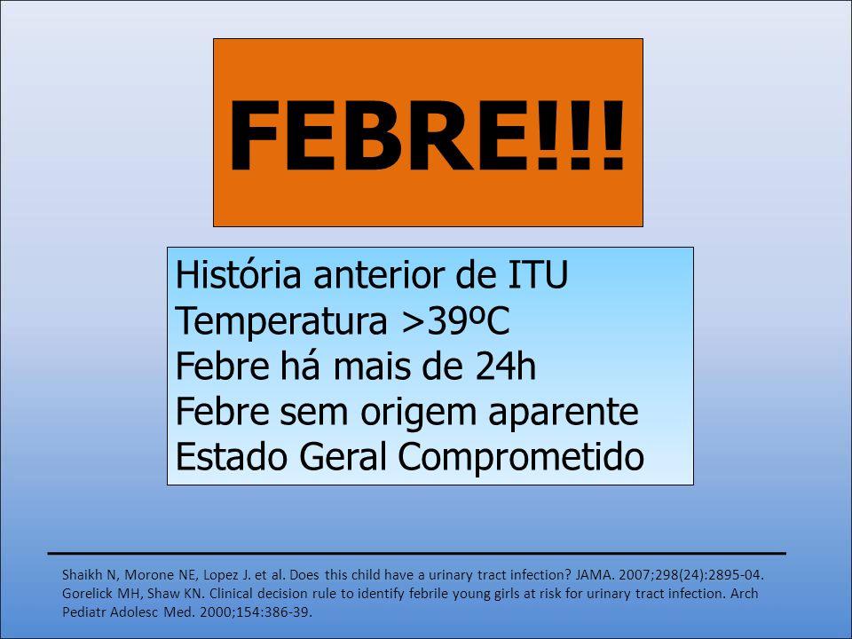 História anterior de ITU Temperatura >39ºC Febre há mais de 24h Febre sem origem aparente Estado Geral Comprometido FEBRE!!! Shaikh N, Morone NE, Lope