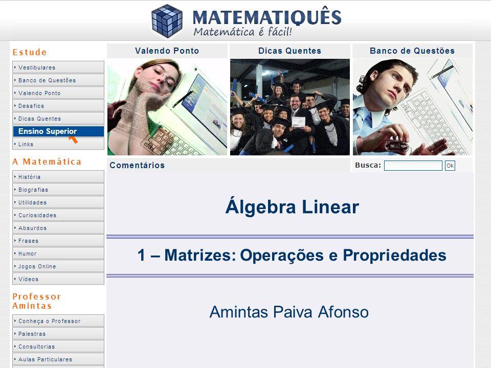 Ensino Superior 1 – Matrizes: Operações e Propriedades Amintas Paiva Afonso Álgebra Linear