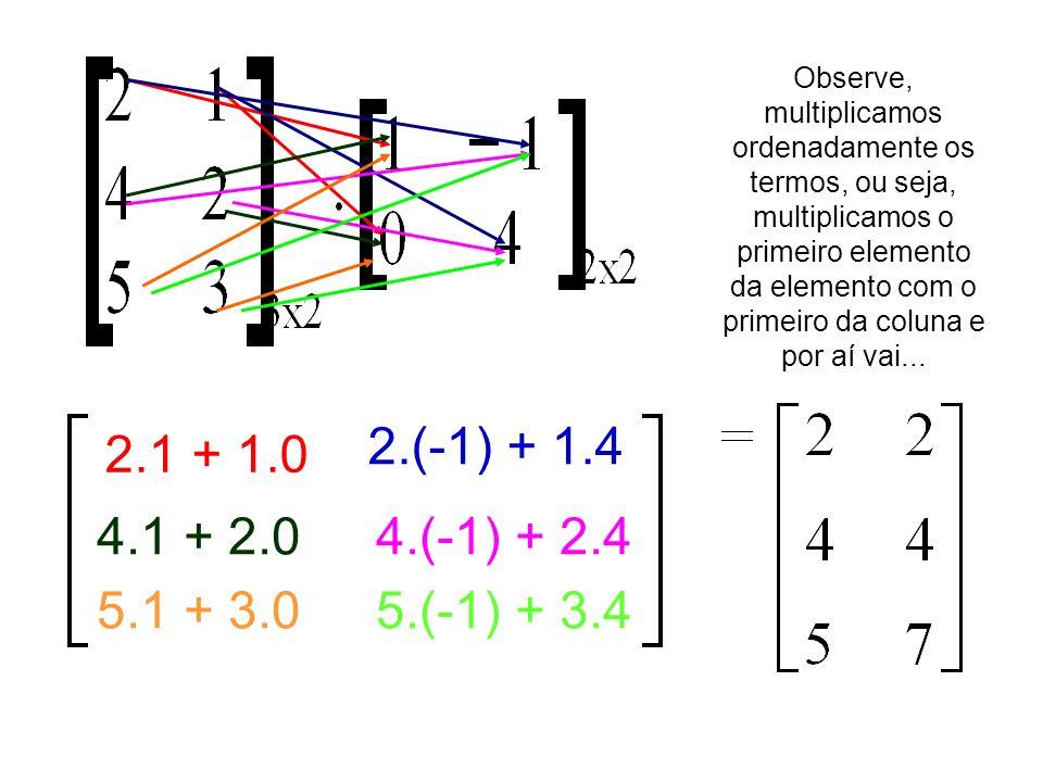 2.1 + 1.0 2.(-1) + 1.4 4.1 + 2.04.(-1) + 2.4 5.1 + 3.05.(-1) + 3.4 Observe, multiplicamos ordenadamente os termos, ou seja, multiplicamos o primeiro e