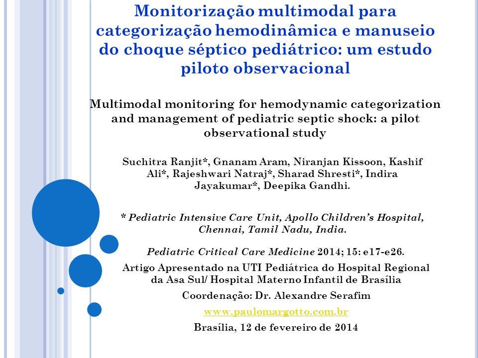 Monitorização multimodal para categorização hemodinâmica e manuseio do choque séptico pediátrico: um estudo piloto observacional Multimodal monitoring