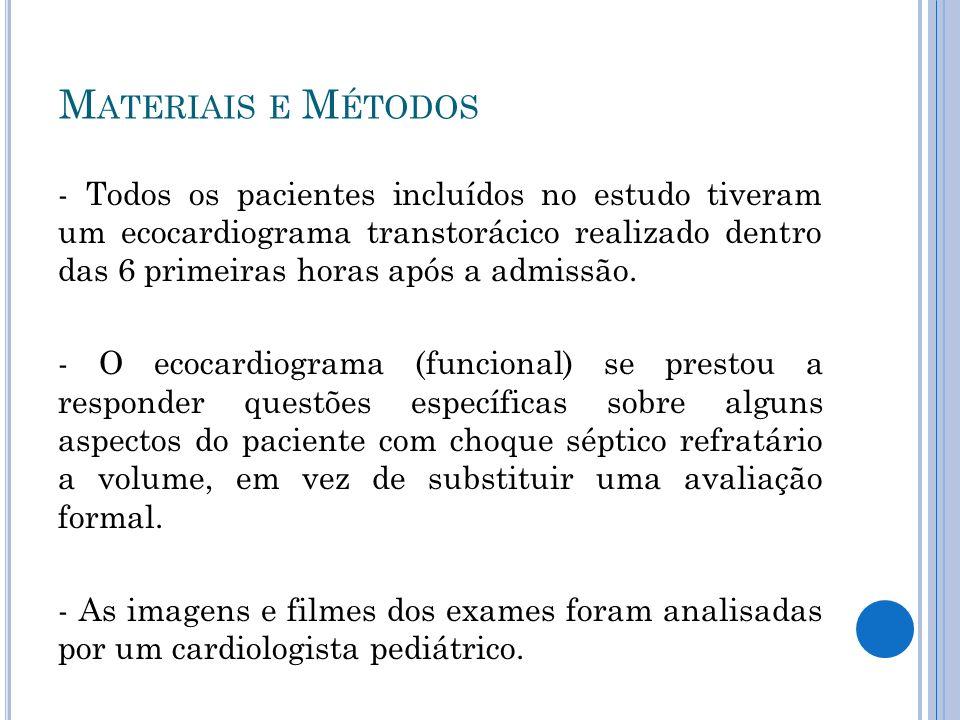 - Todos os pacientes incluídos no estudo tiveram um ecocardiograma transtorácico realizado dentro das 6 primeiras horas após a admissão. - O ecocardio