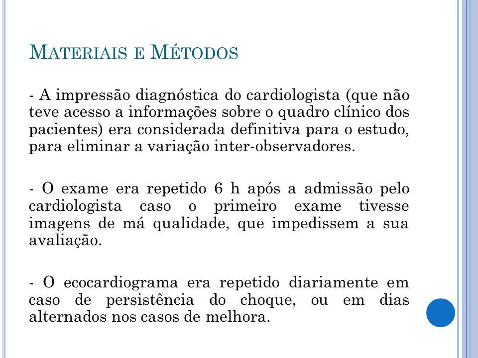 - A impressão diagnóstica do cardiologista (que não teve acesso a informações sobre o quadro clínico dos pacientes) era considerada definitiva para o