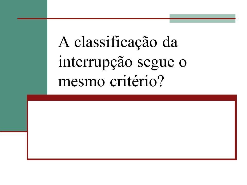 A classificação da interrupção segue o mesmo critério?