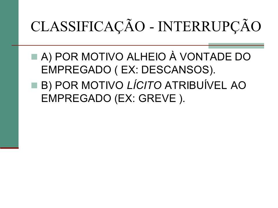 CLASSIFICAÇÃO - INTERRUPÇÃO A) POR MOTIVO ALHEIO À VONTADE DO EMPREGADO ( EX: DESCANSOS). B) POR MOTIVO LÍCITO ATRIBUÍVEL AO EMPREGADO (EX: GREVE ).
