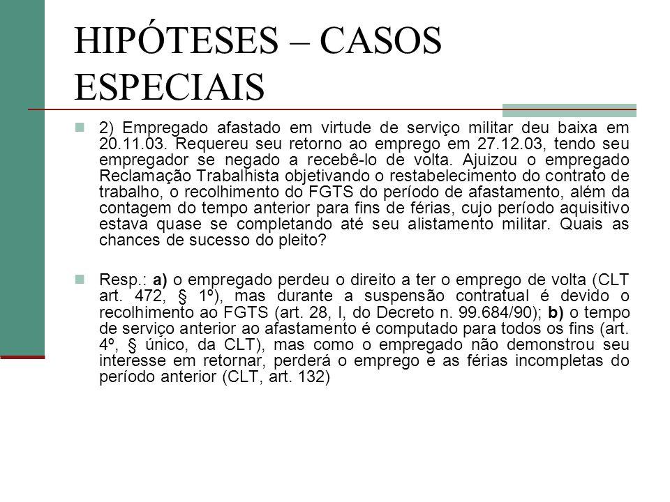HIPÓTESES – CASOS ESPECIAIS 2) Empregado afastado em virtude de serviço militar deu baixa em 20.11.03. Requereu seu retorno ao emprego em 27.12.03, te
