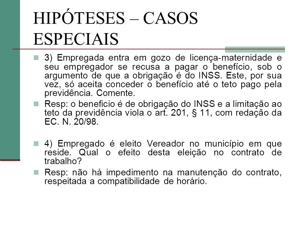 HIPÓTESES – CASOS ESPECIAIS 3) Empregada entra em gozo de licença-maternidade e seu empregador se recusa a pagar o benefício, sob o argumento de que a obrigação é do INSS.