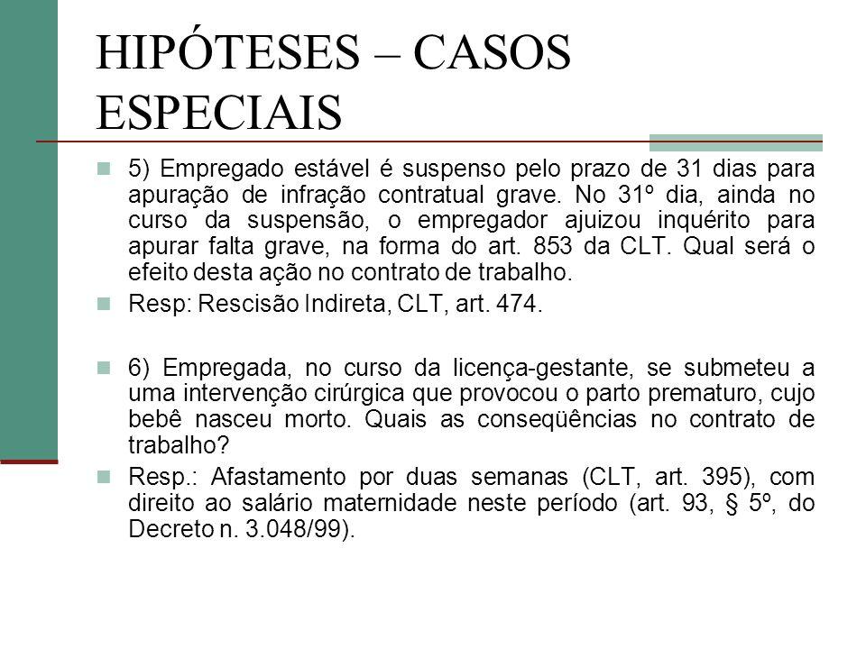HIPÓTESES – CASOS ESPECIAIS 5) Empregado estável é suspenso pelo prazo de 31 dias para apuração de infração contratual grave.