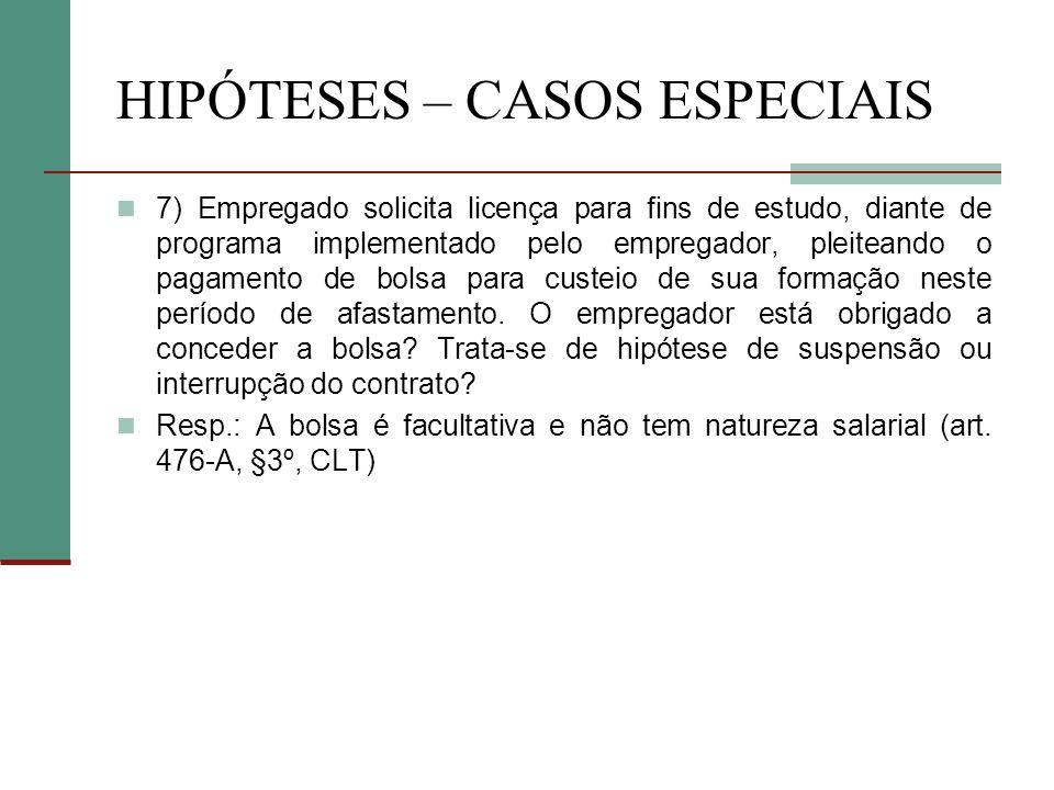 HIPÓTESES – CASOS ESPECIAIS 7) Empregado solicita licença para fins de estudo, diante de programa implementado pelo empregador, pleiteando o pagamento de bolsa para custeio de sua formação neste período de afastamento.