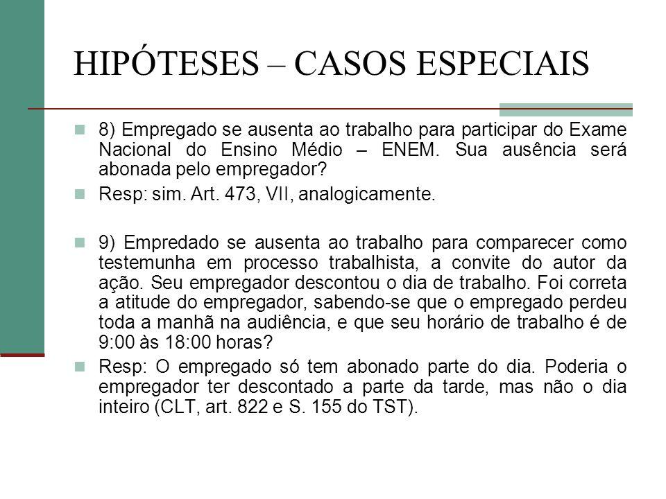 HIPÓTESES – CASOS ESPECIAIS 8) Empregado se ausenta ao trabalho para participar do Exame Nacional do Ensino Médio – ENEM.
