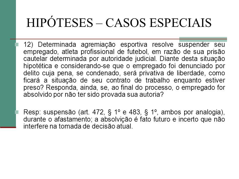 HIPÓTESES – CASOS ESPECIAIS 12) Determinada agremiação esportiva resolve suspender seu empregado, atleta profissional de futebol, em razão de sua prisão cautelar determinada por autoridade judicial.