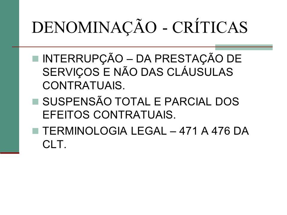 DENOMINAÇÃO - CRÍTICAS INTERRUPÇÃO – DA PRESTAÇÃO DE SERVIÇOS E NÃO DAS CLÁUSULAS CONTRATUAIS.