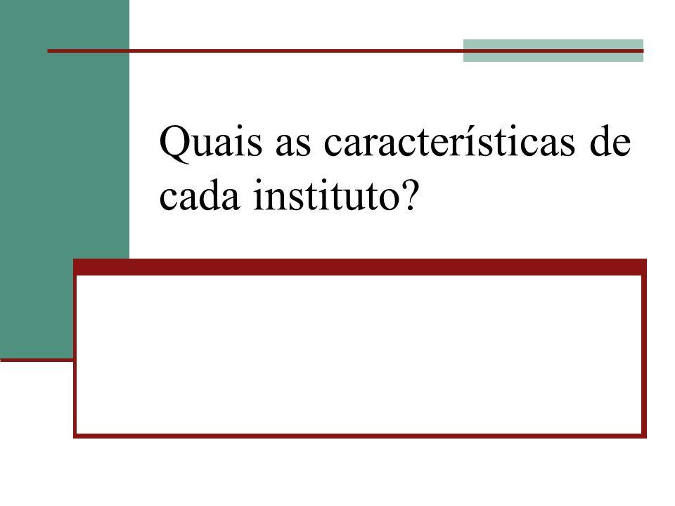 Quais as características de cada instituto?