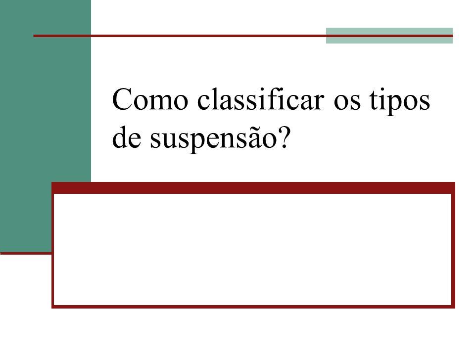 Como classificar os tipos de suspensão?
