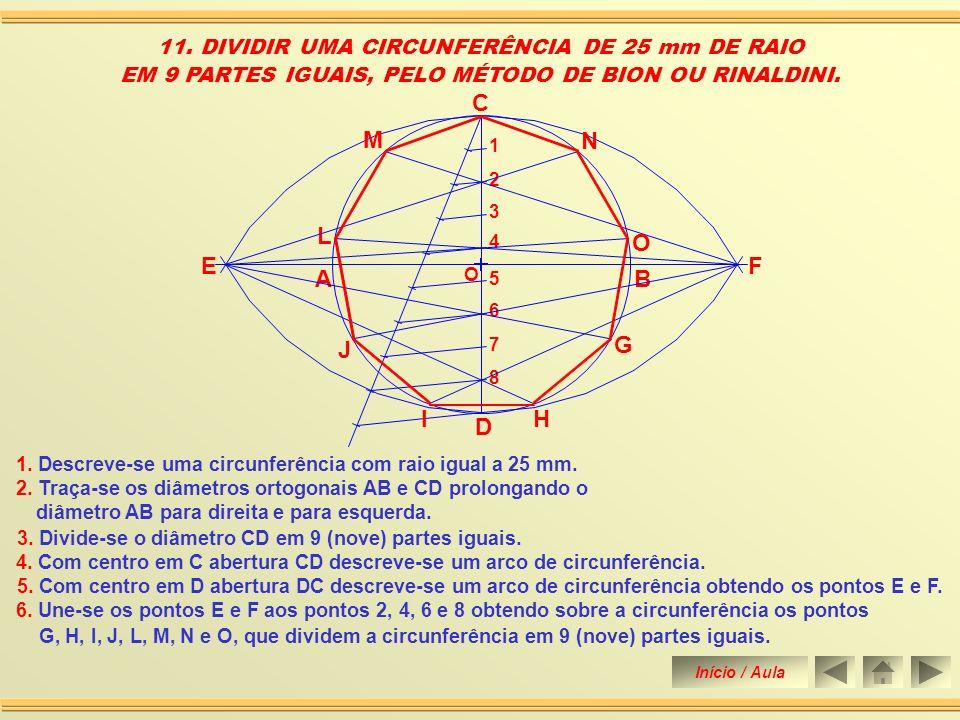 5. Traça-se a mediatriz do segmento MC obtendo o seu ponto médio, o ponto E. 10. DIVIDIR UMA CIRCUNFERÊNCIA DE 25 mm DE RAIO EM 11 PARTES IGUAIS (Segu