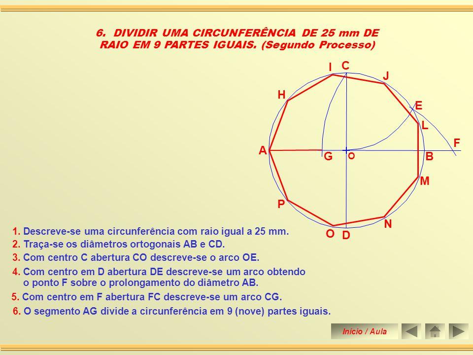 1. Descreve-se uma circunferência com raio igual a 25 mm. 5. DIVIDIR UMA CIRCUNFERÊNCIA DE 25 mm DE RAIO EM 9 PARTES IGUAIS. (Primeiro Processo) O A B