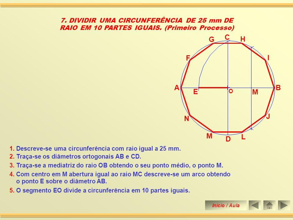 6. DIVIDIR UMA CIRCUNFERÊNCIA DE 25 mm DE RAIO EM 9 PARTES IGUAIS. (Segundo Processo) 1. Descreve-se uma circunferência com raio igual a 25 mm. 2. Tra