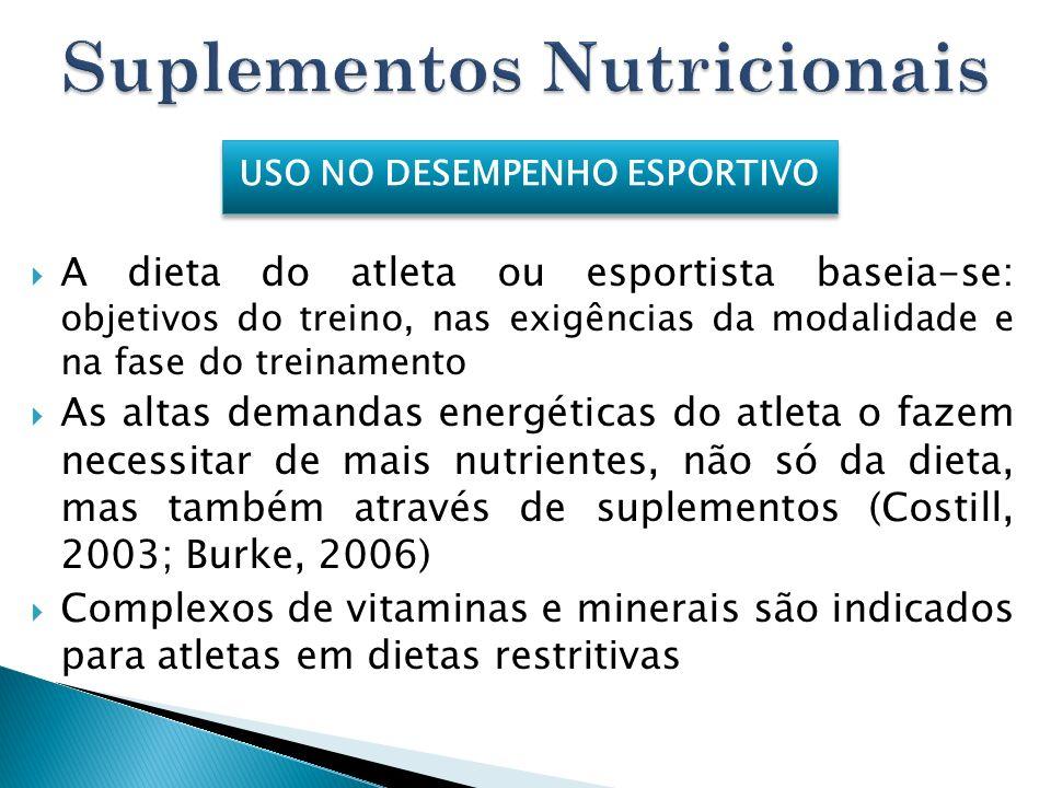 A dieta do atleta ou esportista baseia-se: objetivos do treino, nas exigências da modalidade e na fase do treinamento As altas demandas energéticas do
