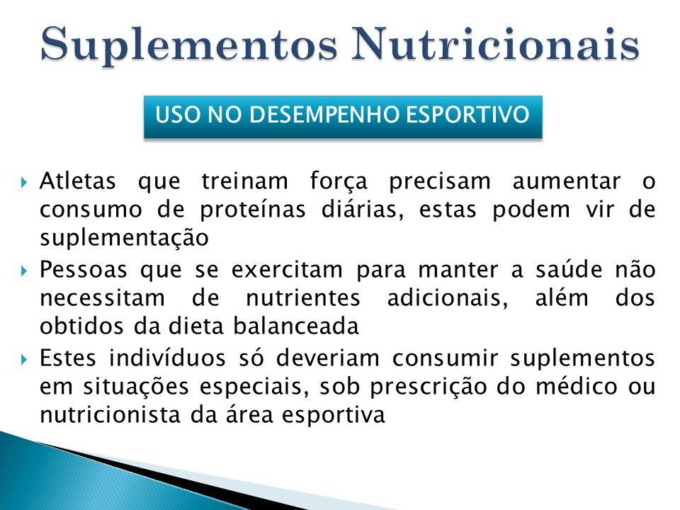 Atletas que treinam força precisam aumentar o consumo de proteínas diárias, estas podem vir de suplementação Pessoas que se exercitam para manter a sa