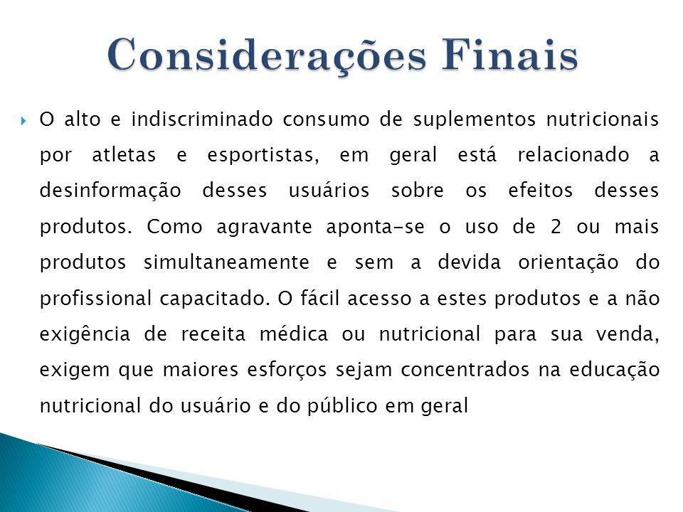 O alto e indiscriminado consumo de suplementos nutricionais por atletas e esportistas, em geral está relacionado a desinformação desses usuários sobre