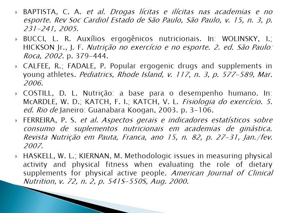 BAPTISTA, C. A. et al. Drogas lícitas e ilícitas nas academias e no esporte. Rev Soc Cardiol Estado de São Paulo, São Paulo, v. 15, n. 3, p. 231-241,