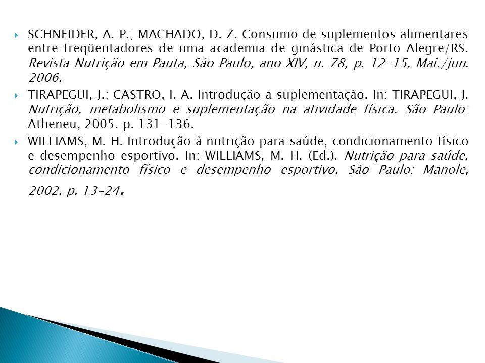 SCHNEIDER, A. P.; MACHADO, D. Z. Consumo de suplementos alimentares entre freqüentadores de uma academia de ginástica de Porto Alegre/RS. Revista Nutr
