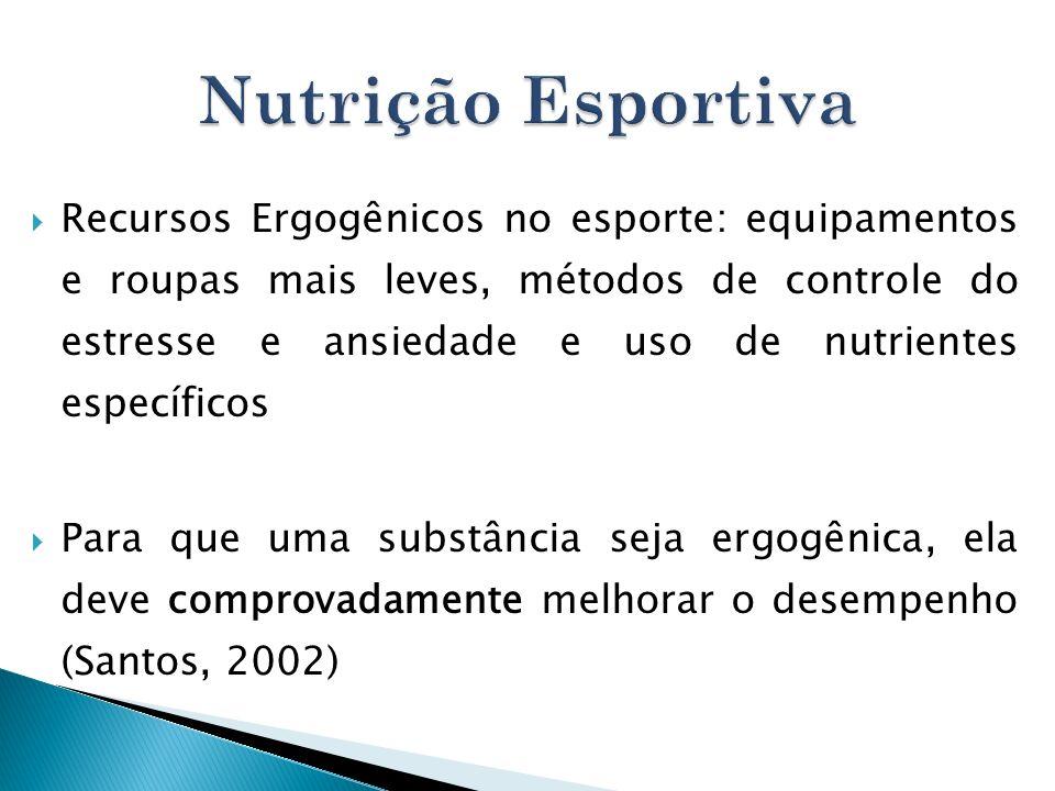 Recursos Ergogênicos no esporte: equipamentos e roupas mais leves, métodos de controle do estresse e ansiedade e uso de nutrientes específicos Para qu