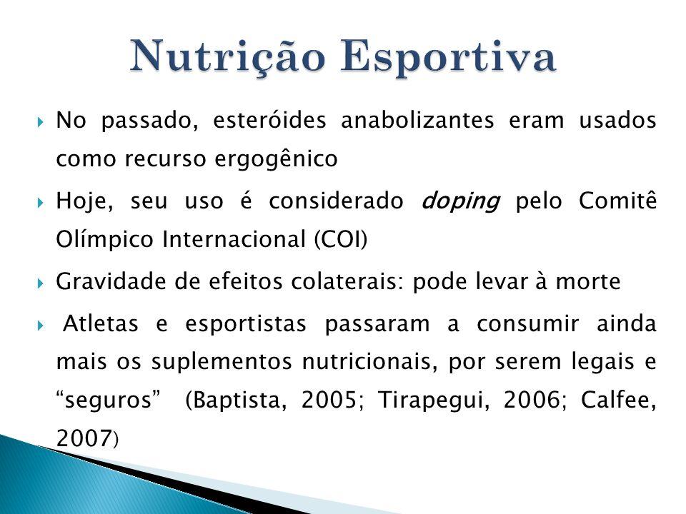 No passado, esteróides anabolizantes eram usados como recurso ergogênico Hoje, seu uso é considerado doping pelo Comitê Olímpico Internacional (COI) G