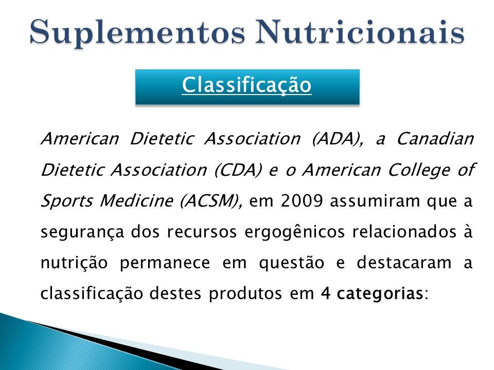 American Dietetic Association (ADA), a Canadian Dietetic Association (CDA) e o American College of Sports Medicine (ACSM), em 2009 assumiram que a seg