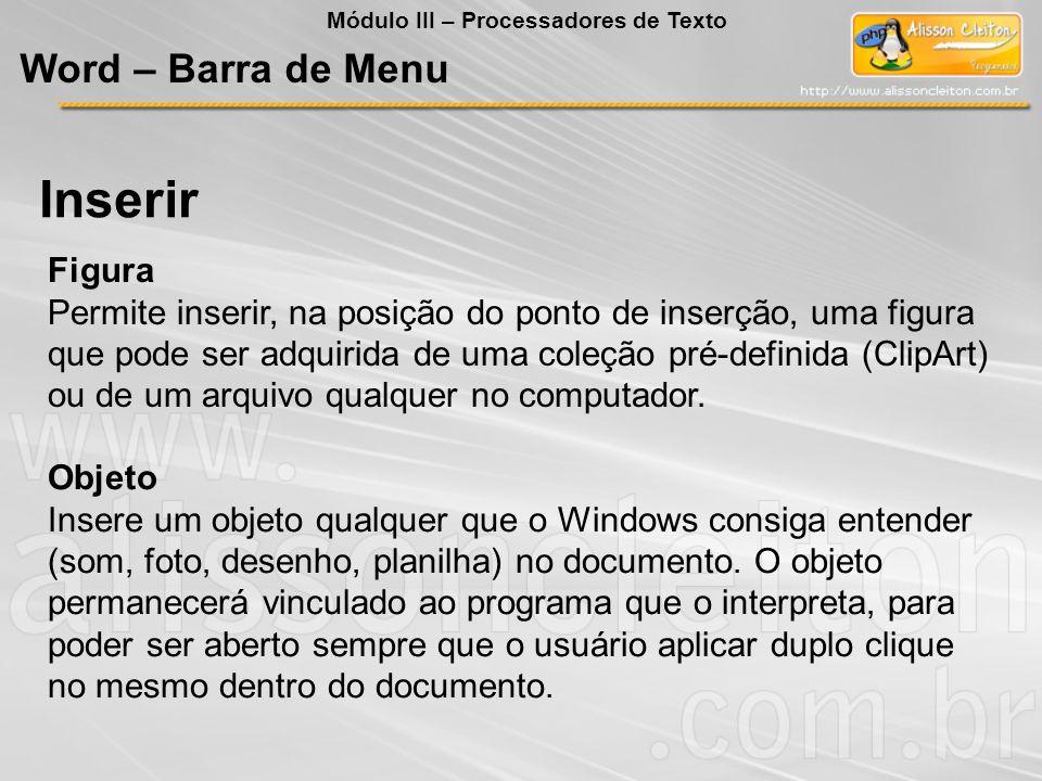 Objeto Insere um objeto qualquer que o Windows consiga entender (som, foto, desenho, planilha) no documento. O objeto permanecerá vinculado ao program