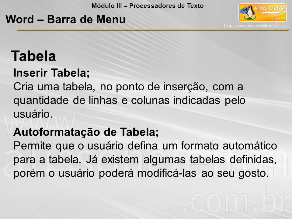 Autoformatação de Tabela; Permite que o usuário defina um formato automático para a tabela. Já existem algumas tabelas definidas, porém o usuário pode