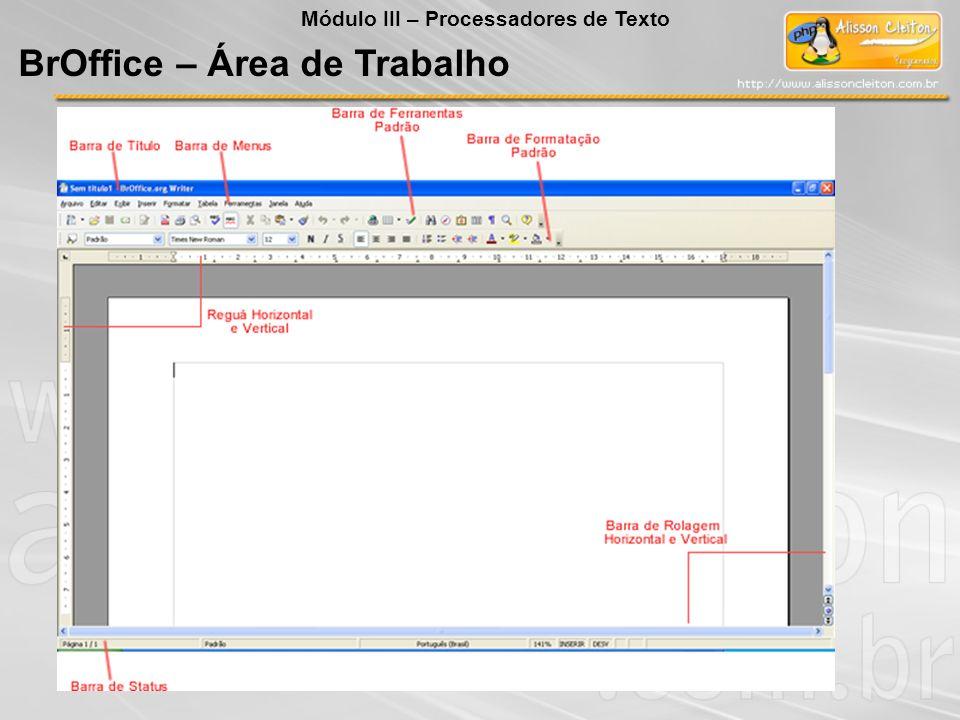 BrOffice – Área de Trabalho Módulo III – Processadores de Texto