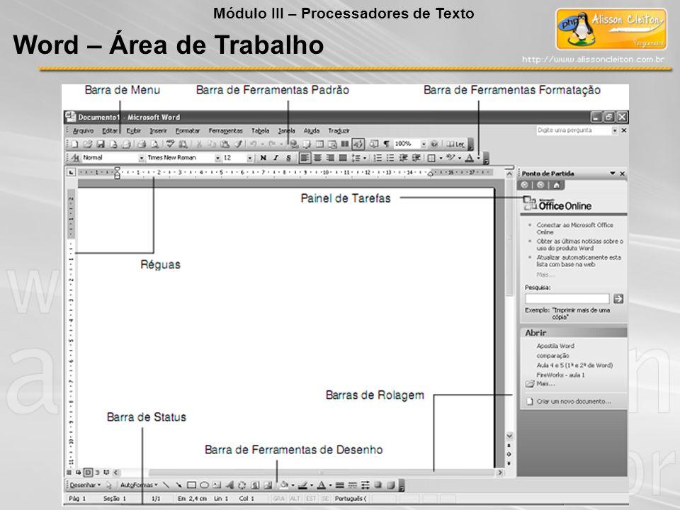 Barra de Menu Barra de Ferramentas Formatação Outras Barras Desenho Tabelas e Bordas Mala Direta Wordart Barra de Ferramentas Padrão Barra de Status Word - Barras Módulo III – Processadores de Texto