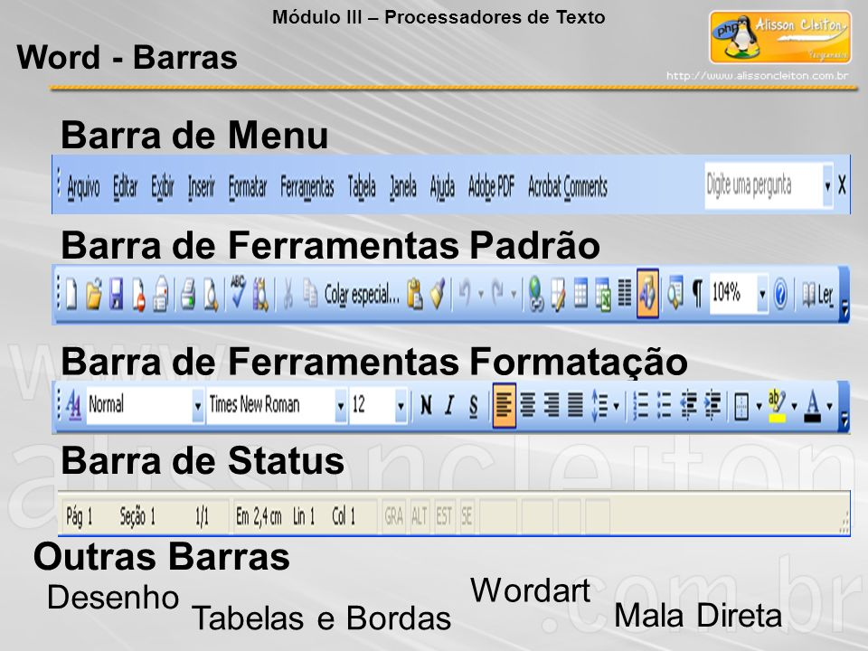Objeto Insere um objeto qualquer que o Windows consiga entender (som, foto, desenho, planilha) no documento.