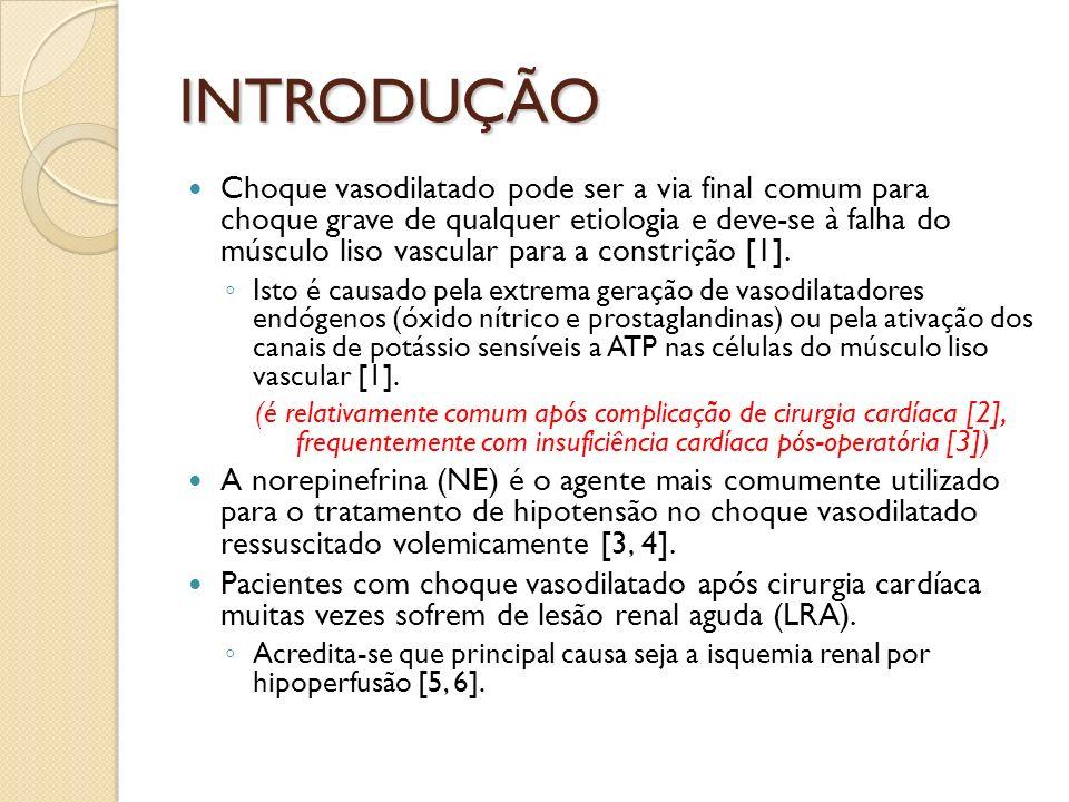 Uso de vasopressores em pacientes com LRA poderia potencialmente levar à diminuição do fluxo sanguíneo renal (FSR) e da oferta renal de oxigênio, agravando a isquemia renal.