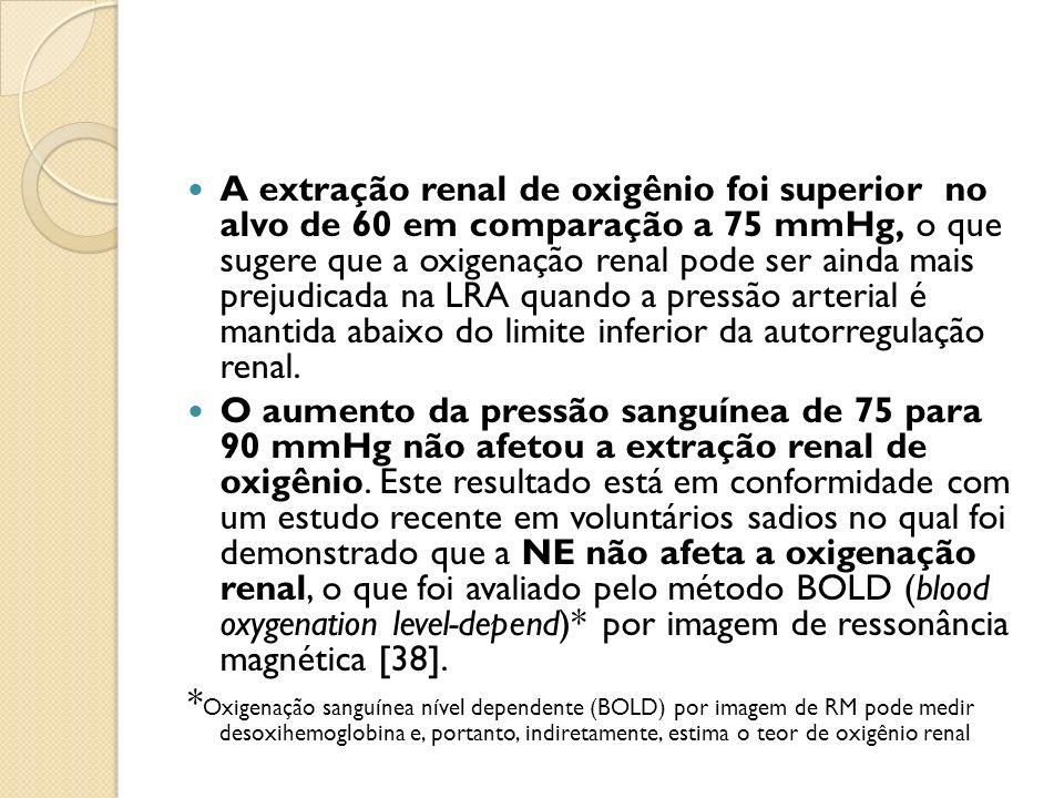 A extração renal de oxigênio foi superior no alvo de 60 em comparação a 75 mmHg, o que sugere que a oxigenação renal pode ser ainda mais prejudicada na LRA quando a pressão arterial é mantida abaixo do limite inferior da autorregulação renal.
