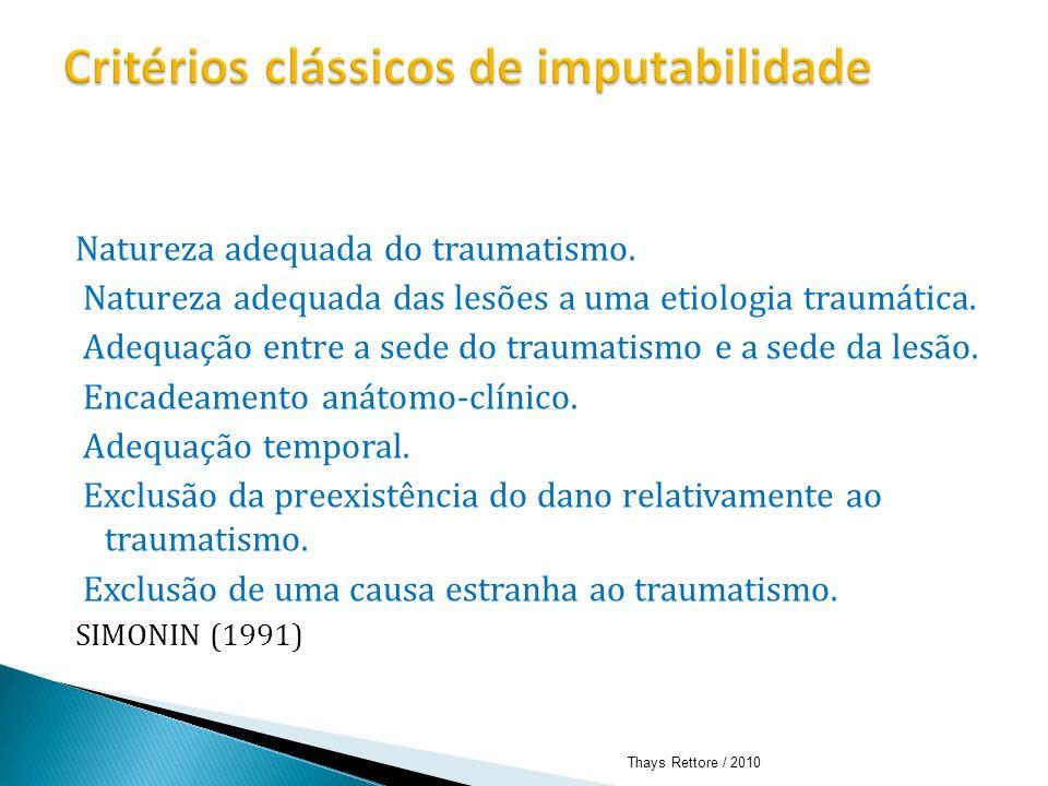 Natureza adequada do traumatismo. Natureza adequada das lesões a uma etiologia traumática. Adequação entre a sede do traumatismo e a sede da lesão. En