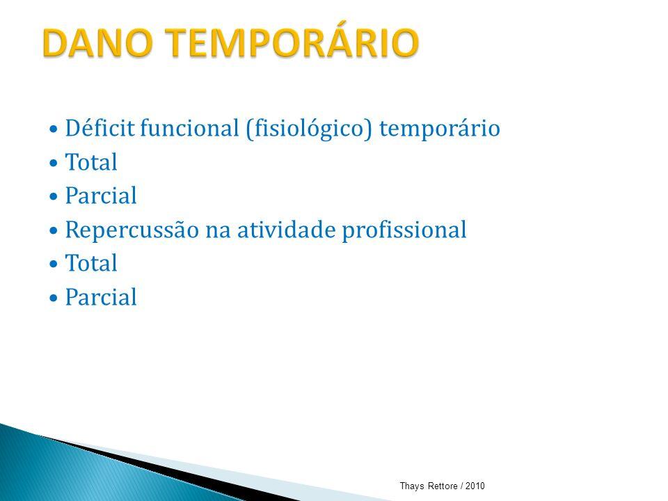 Déficit funcional (fisiológico) temporário Total Parcial Repercussão na atividade profissional Total Parcial Thays Rettore / 2010
