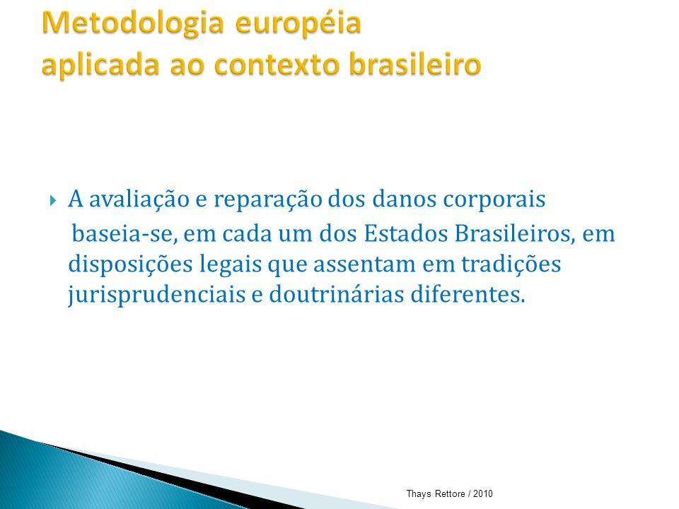 A avaliação e reparação dos danos corporais baseia-se, em cada um dos Estados Brasileiros, em disposições legais que assentam em tradições jurispruden