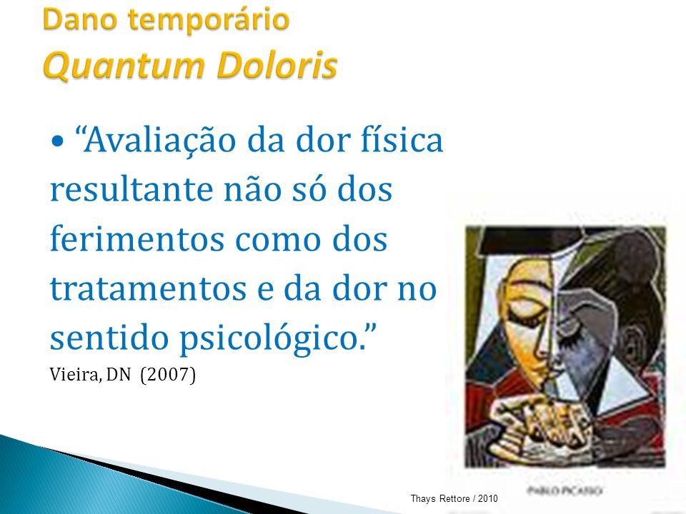 Avaliação da dor física resultante não só dos ferimentos como dos tratamentos e da dor no sentido psicológico. Vieira, DN (2007) Thays Rettore / 2010