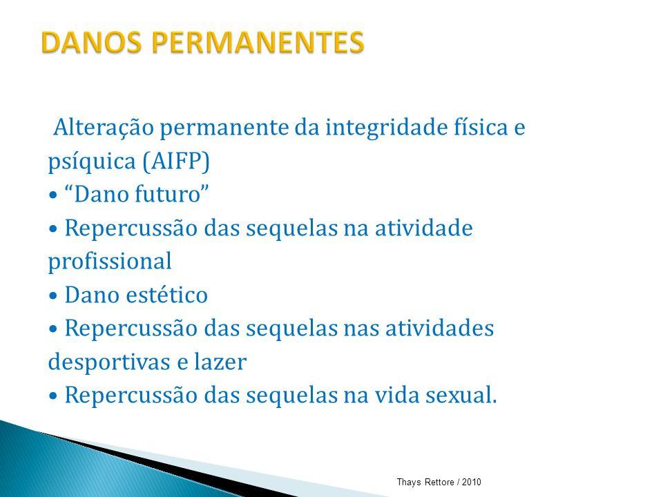 Alteração permanente da integridade física e psíquica (AIFP) Dano futuro Repercussão das sequelas na atividade profissional Dano estético Repercussão