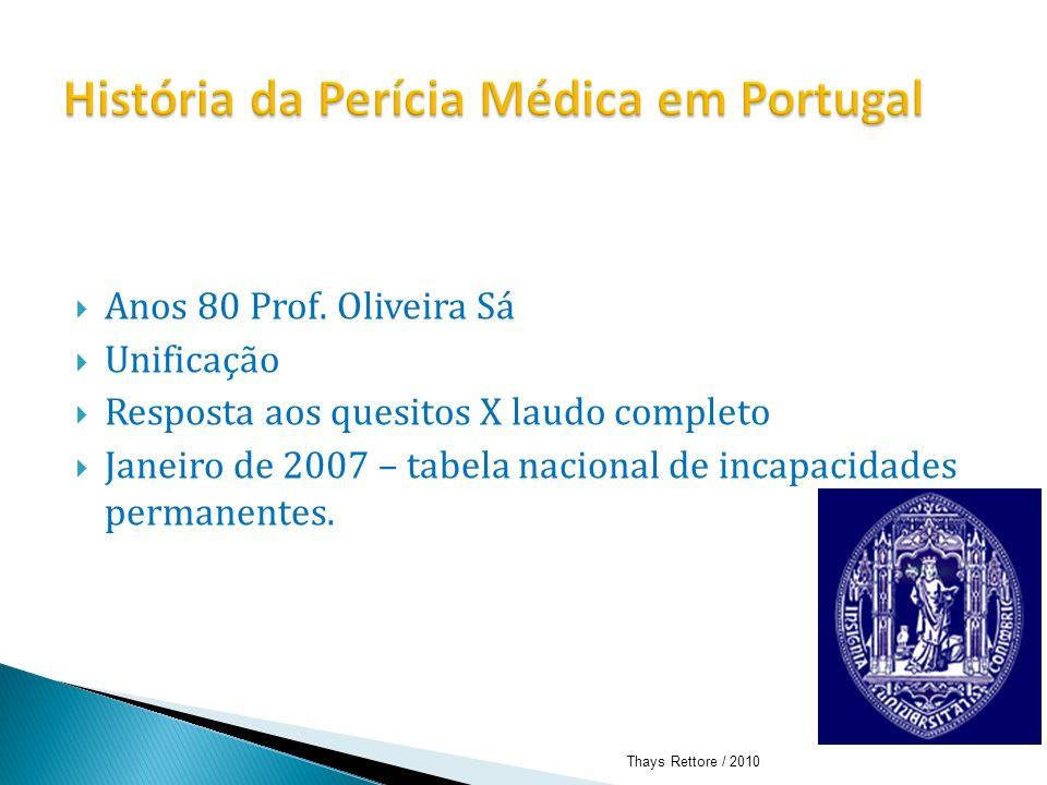 Anos 80 Prof. Oliveira Sá Unificação Resposta aos quesitos X laudo completo Janeiro de 2007 – tabela nacional de incapacidades permanentes. Thays Rett