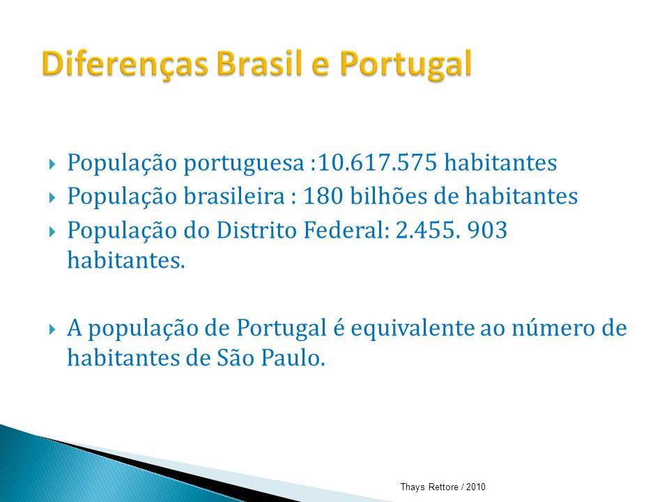 População portuguesa :10.617.575 habitantes População brasileira : 180 bilhões de habitantes População do Distrito Federal: 2.455. 903 habitantes. A p