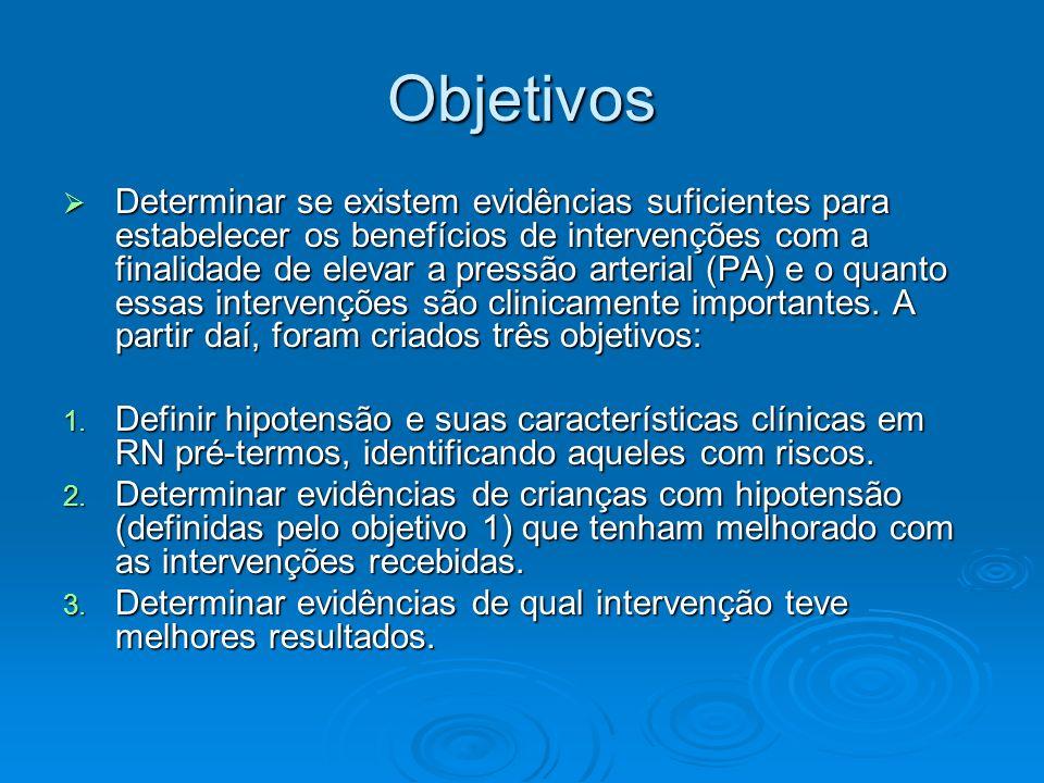 Objetivos Determinar se existem evidências suficientes para estabelecer os benefícios de intervenções com a finalidade de elevar a pressão arterial (P