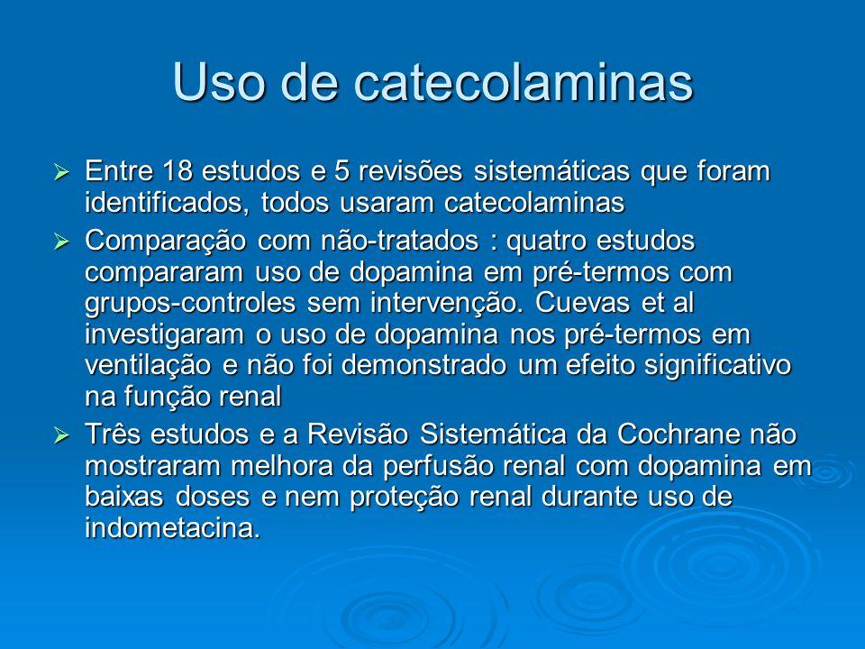 Uso de catecolaminas Entre 18 estudos e 5 revisões sistemáticas que foram identificados, todos usaram catecolaminas Entre 18 estudos e 5 revisões sist