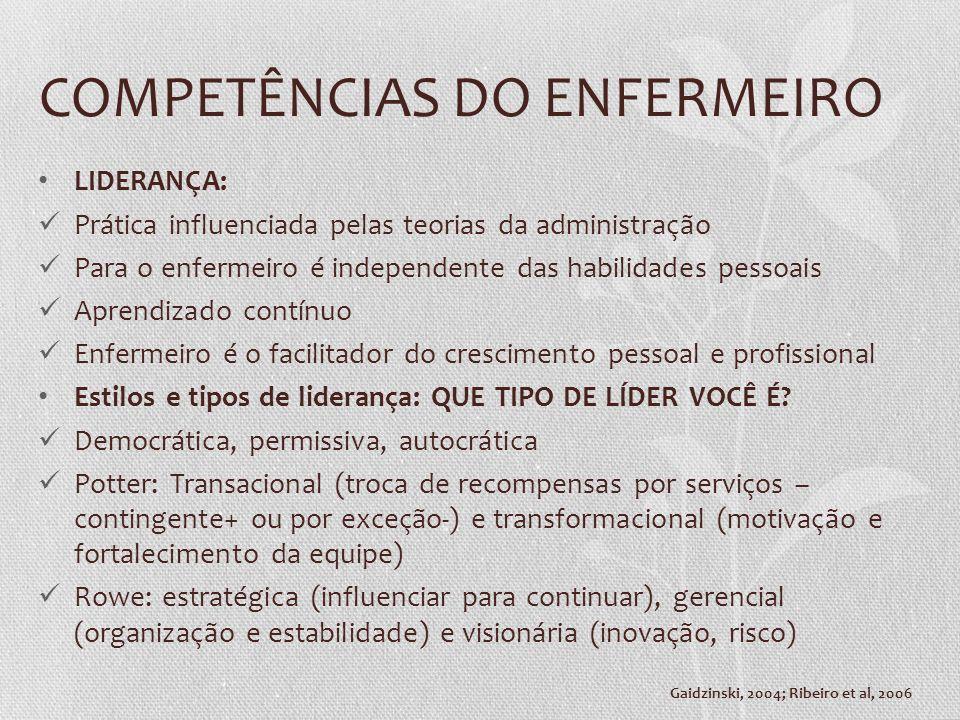 COMPETÊNCIAS DO ENFERMEIRO LIDERANÇA: Prática influenciada pelas teorias da administração Para o enfermeiro é independente das habilidades pessoais Ap