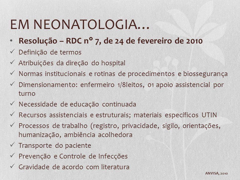 EM NEONATOLOGIA… Resolução – RDC n° 7, de 24 de fevereiro de 2010 Definição de termos Atribuições da direção do hospital Normas institucionais e rotin