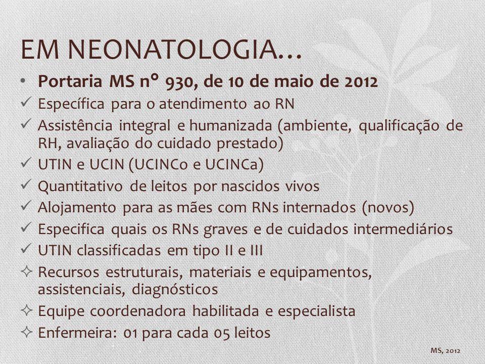 EM NEONATOLOGIA… Portaria MS n° 930, de 10 de maio de 2012 Específica para o atendimento ao RN Assistência integral e humanizada (ambiente, qualificaç